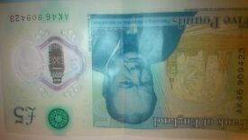 5 pound note ak46 Aerial number