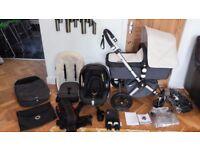 OFF WHITE BUGABOO CAMELEON2 PRAM + MAXI COSI CAR SEAT & MANY EXTRAS-RRP£1235.00