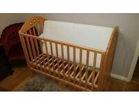 Mothercare cot, mattress and cot top changer