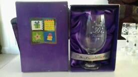Boxed 50th birthday glass