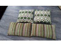 4 x Cushions, 2 large square, 2 rectangular, originally from Matalan. In green, cream and brown.