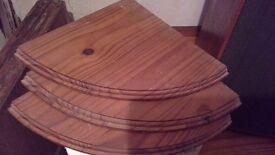 Set of 3 corner shelves - antique pine