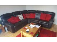 brown leather recliner corner sofa in very good condition open to offers