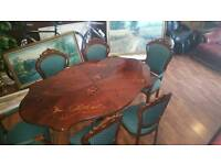 Victorian Queen Anne table and 6 chairs