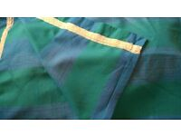 pair of blue green tartan curtains drapes