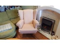 Vintage Retro Style High Back Wingback Armchair Fireside Bedroom Chair Queen Anne Style Legs