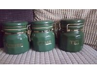Green coffee tea sugar pot set
