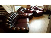 Beautiful oxblood arched back chesterfield suite 2 + 1 + 1
