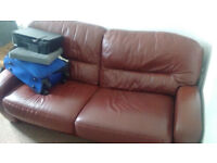 Sofa bed for sale, red leather, double, with mattress £75
