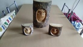 For sale we have 3 owls carved in logs