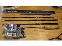 """(£ 150) 4 fishing rods + 3 reels +2 pointers / 2 bases + Complete fishing Set"""