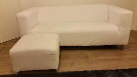 Ikea Klippan sofa and matching pouffe