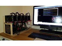 6 X GPU 4GB Radeon RX570 Mining rig 175MH ETH 10200H/S MSR etc