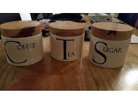 Tea, Coffee and Sugar storage pots