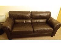 Sofa - Black Real Leather Good condition Collection in Person