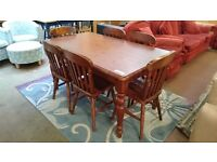 Solid Brown Pine Dining Table with 4 Chairs