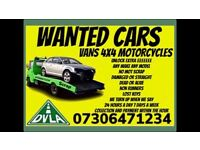 ALL CARS 4x4 VANS WANTED CASH ON COLLECTION TODAY SCRAP DAMAGED ANYTHING CALL NOW