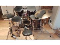 Premier drum kit - 7 piece plus Zildjan/Sabian cymbals with full pad kit