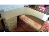 Oak Effect Corner desk with filing cabinet