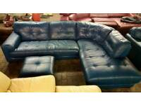 Teal Leather Corner Sofa Armchair & Footstool Beautiful Large Suite Ocean Blue Green Aqua Curved Set