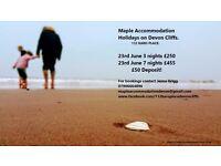 JUNE 23RD - 3 night stay £250 or 7 night stay £455- DEVON CLIFFS SANDY BAY