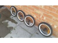 4 tyre for kids bike 16 inch with wheels £5 each.