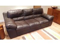 Three seater brown leather sofa for sale