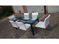 Stunning Glass Dinning Table 180 CM With 6 Leather Chairs Nearly New