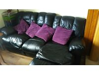 3 seater black leather reclining sofa