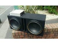 2 x 12 inch 1000watt each mutant subs in box with amp