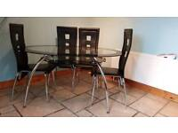 Clear and black tempered glass table,with shelf and 4 high back chairs
