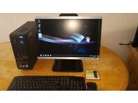 SSD HP COMPAQ Ultra Slim Desktop Computer PC & Hp LCD Wide Screen LCD