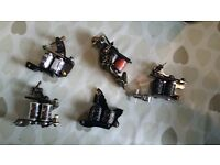 Various tattoo machines 3custom irons one shader one packer and one liner