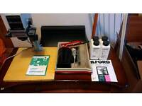 Dark room equipment including enlarger, solutions, paper and developing kit