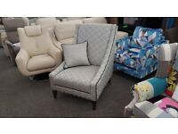Ashley Manor Silver Grey Patterned Accent Chair Can Deliver
