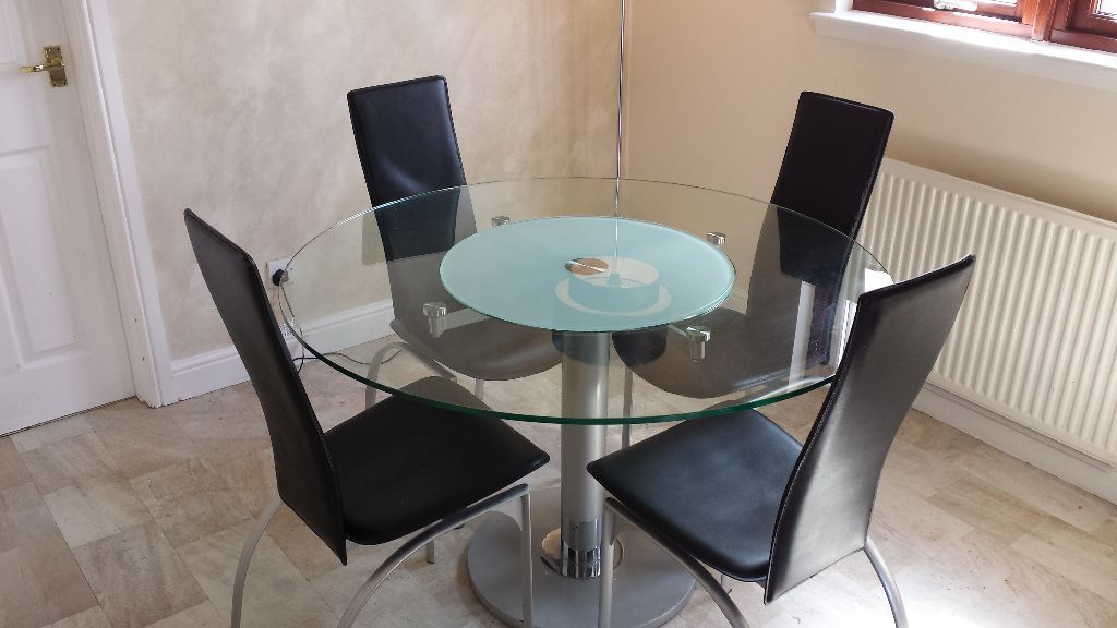 Modern Round Glass Dining Table Amp 4 Chairs With Lazy