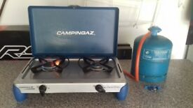 CampingGaz 2 burner stove with regulator and gas bottle