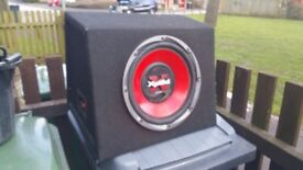 """12"""" Sony Xplod sub woofer in MDF carpeted ported box"""