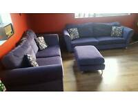 3 and 4 seater purple DFDS sofas