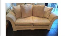 Cream 2 seater sofa with 4 cushions