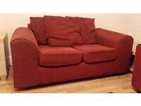 Argos 3 + 2 burgandy red sofa set