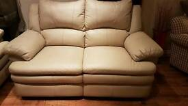 Real leather, electric reclining 2 seater settee