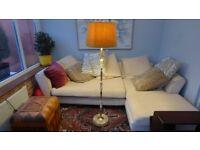 Vintage Antique Heavy Brass & Marble Onyx Standard Floor Lamp + Shade