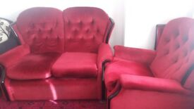 Sofa red colour sofa two seater sofa 1 seater armchair