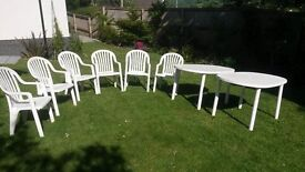 White Plastic Garden Chairs & Tables