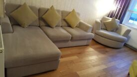 Corner sofa, cuddle chair and contrasting chair