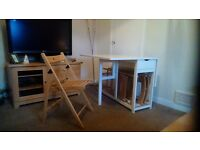 White ikea gate leg table and 4 chairs
