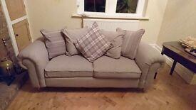 Cream 3 seater scatterback sofa
