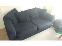 Navy blue fabric 2 and 3 seater Sofas. Still in good nick!