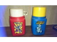 Vintage star wars and transformers flasks